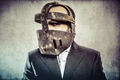 Работа, опасный бизнесмен с железной маской и выражения Стоковые Изображения RF