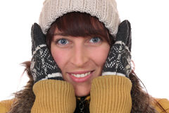 结冰在寒冷的一个少妇的画象在冬天 免版税库存照片