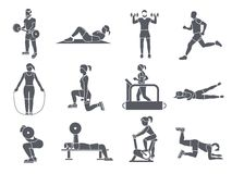 Ο αθλητισμός γυμναστικής ασκεί τα εικονίδια Στοκ φωτογραφία με δικαίωμα ελεύθερης χρήσης