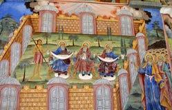 一张壁画和正统象绘画的细节在里拉修道院教会里在保加利亚 免版税库存照片