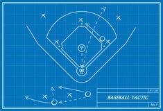 在图纸的棒球战术 库存图片