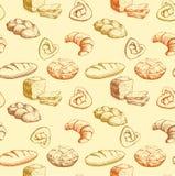 面包 面包店无缝的样式 五颜六色的背景大面包,长方形宝石,烘烤了物品,新月形面包,杯形蛋糕,百吉卷 免版税库存照片