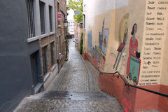 布鲁塞尔狭窄街道 库存照片