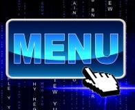 网上菜单代表全球资讯网和用餐 免版税库存照片