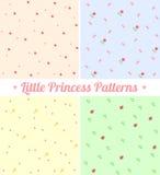 Комплект милых безшовных картин для маленькой принцессы Стоковая Фотография RF