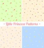Комплект милых безшовных картин для маленькой принцессы Стоковые Изображения