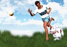 人最好的朋友伴侣狗取指令投掷球例证 免版税库存图片