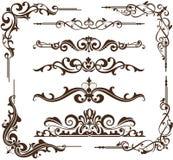 Рамки и углы вектора винтажные орнаментальные Стоковые Изображения RF