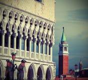 公爵的宫殿和圣乔治教会在威尼斯在意大利 免版税图库摄影