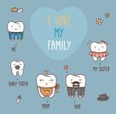 被设置的愉快的家庭牙 您的牙齿收藏 免版税图库摄影