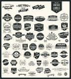 Собрание винтажных ретро ярлыков, значков, штемпелей, лент Стоковое Изображение RF
