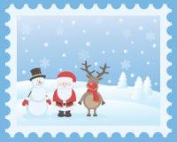 Санта Клаус, олени и снеговик Стоковое фото RF