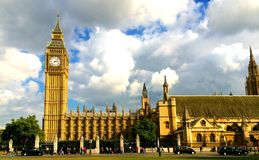 Парламент Великобритании Лондон большого Бен Стоковые Изображения
