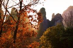 美好的秋天风景在迈泰奥拉,希腊 免版税库存照片