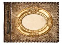 册页花束装饰了花框架蜀葵照片葡萄酒 皮革盖子和金黄框架 免版税库存图片