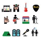 Музыкальный фестиваль, установленные значки в реальном маштабе времени вектора концерта Стоковое Изображение RF