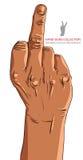 中指手标志,非洲种族,详述 免版税库存图片
