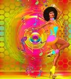 有蓬松卷发的五颜六色的减速火箭的迪斯科舞蹈家 免版税图库摄影