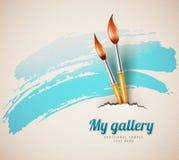 Щетки художника для рисовать от сорванной текстурированной бумажной концепции искусства Стоковое Изображение