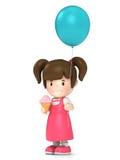 拿着气球的孩子 图库摄影