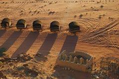 流浪的阵营在瓦地伦沙漠,约旦 图库摄影