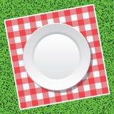 Τραπεζομάντιλο πικ-νίκ και κενό πιάτο Στοκ φωτογραφία με δικαίωμα ελεύθερης χρήσης
