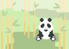 Лес дикого животного вектора шаржа дизайна медведя панды плоский Стоковое Изображение RF