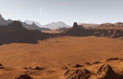 Марсианский ландшафт с кратерами и луной Стоковые Фото