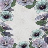蓝色和紫色花框架卡片 免版税图库摄影