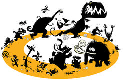 Идущие животные силуэты в цикле Стоковое Изображение RF
