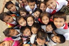 孩子在老挝编组 免版税库存照片