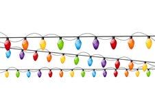 颜色圣诞灯电灯泡 免版税库存图片
