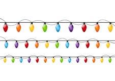 颜色圣诞灯电灯泡 库存照片
