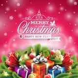 Διανυσματική απεικόνιση Χριστουγέννων με το τυπογραφικό σχέδιο και λαμπρά στοιχεία διακοπών στο κόκκινο υπόβαθρο Στοκ φωτογραφίες με δικαίωμα ελεύθερης χρήσης