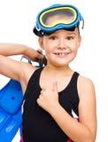 Το κορίτσι με κολυμπά με αναπνευτήρα εξοπλισμός Στοκ εικόνα με δικαίωμα ελεύθερης χρήσης