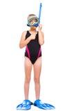 Το κορίτσι με κολυμπά με αναπνευτήρα εξοπλισμός Στοκ Εικόνες