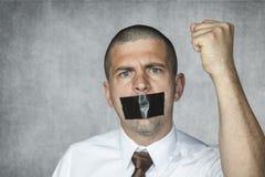 讽刺画对应的自由人质热信息通知新闻没有我们的申报人范例演讲状态被采取的文本那里 免版税库存图片