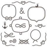 Πλαίσια σχοινιών, σύνορα, κόμβοι Συρμένα χέρι διακοσμητικά στοιχεία Στοκ Εικόνες