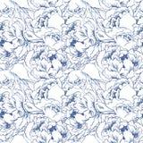 Κομψό άνευ ραφής υπόβαθρο λουλουδιών Μπλε σύνολο συρμένο διάνυσμα χεριών Στοκ φωτογραφία με δικαίωμα ελεύθερης χρήσης