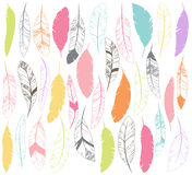 传染媒介套风格化或抽象羽毛 免版税库存图片