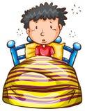早早醒的男孩的一个色的剪影 免版税库存图片