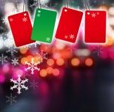 Κενή ετικέτα στο υπόβαθρο Χριστουγέννων Στοκ Φωτογραφίες