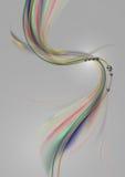 在弯曲的线的钢珠与在柔和的灰色背景的透明色的波浪 免版税库存照片
