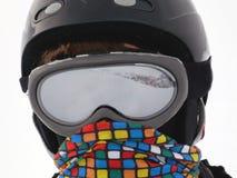 有滑雪风镜的年轻人 免版税库存图片