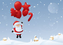 圣诞老人的气球旅行 免版税库存照片