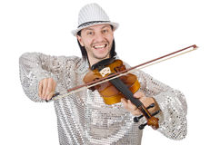 有小提琴的滑稽的人 免版税图库摄影