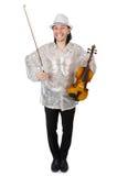 有小提琴的滑稽的人 库存照片