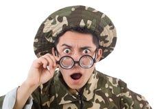 Αστείος στρατιώτης σε στρατιωτικό Στοκ Εικόνες