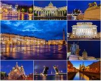 Исторические привлекательности Санкт-Петербурга Россия (город коллажа на ноче) Стоковые Фотографии RF