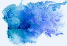 抽象背景蓝色色的纸纹理水彩 免版税库存照片